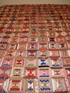 Log-Cabin-Quilt-1860s-1880s-Browns-anfd-Pinks-Cotton-Linen