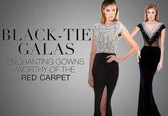 Black-tie formal holiday party event dresses