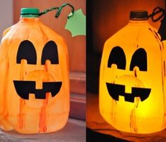 Simple Jack-o'Lantern craft for little kids that will light up your Halloween (no carving required!)