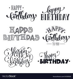 credit card images Hand written happy birthday phrases vector image on - Happy Birthday Caligraphy, Happy Birthday Doodles, Happy Birthday Hand Lettering, Happy Birthday Signs, Birthday Wishes, Handlettering Happy Birthday, Happy Birthday Chalkboard, Birthday Greetings, Happy Birthday Greeting Cards