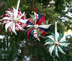 Three Prairie Point Star Ornaments
