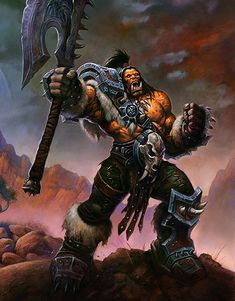 That is not Baine Bloodhoof, description. That is Grommash Hellscream. Grom Hellscream, Grommash Hellscream, Garrosh Hellscream, Fantasy Wizard, Fantasy Rpg, Medieval Fantasy, Fantasy World, Warcraft Orc, World Of Warcraft
