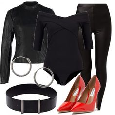 Outfit ispirato a Grease, pensato per una festa di carnevale. L'unico tocco di colore è dato dalle scarpe rosse, il resto è nero. Leggins e giacca di similpelle, body con spalle scoperte e maniche a tre quarti. Cintura da indossare a vita alta e orecchini a cerchio.