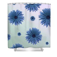 #shower #curtain #bathroom #designs #home #décor #pattern #interior #design #ideas #blue #gerbera #daisy #pretty