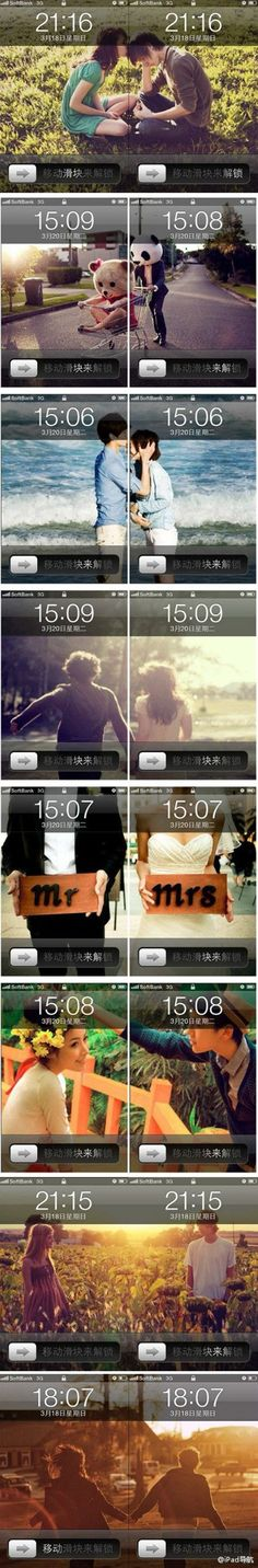 His & Her's, cell phone backgrounds of their couple pictures split to see the significant other