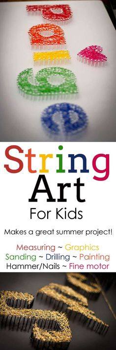String art is SO cool and can really be done with any elementary (or older) aged kid and they can just work to their level and help each other. Come see how we did it this summer!