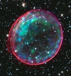HUBBLE BUBBLE, A supernova remnant 170,000 light years away in one of the Milky Way's galactic neighbours.