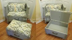 Chest turned into chair n one drawer turned into storage ottoman