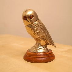 Brass  Owl sculpture  vintage heavy solid brass by UKAmobile
