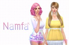 """NAMFA ☼ """" Teen to elder 18 colors """" [ Sim File Share ] [ TSR ] About CC """"New item / Standalone / Catalog thumbnail / All lod Please update your game in last version and delete cache file, If cc or thumbnail not show in cas. """" Thanks CC """"Hair -..."""