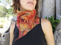 SALE!!!! FREE POSTAGE Fire bird nuno felted scarf with citrine and garnet detailing, flame pixie scarf, sunset festival scarf