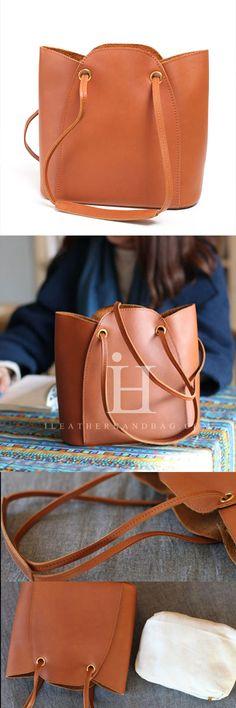 Genuine Leather Handbag Bucket Bag Shoulder Bag Crossbody Bag Purse Clutch For Women