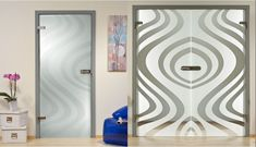 Double doors frosted with curved lines Double Glass Doors, Curved Lines, Kitchen Doors, Wood Doors, Innovation, Interior Design, Mirror, Room, Furniture