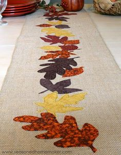 15 Craft Tutorials For Your Thanksgiving Dinner Table : DIY Appliqued Thanksgiving Table Runner