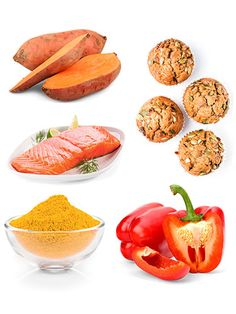 5 Foods That Fight Pain - Red bell peppers, sweet potatoes, turmeric, ginger, salmon.