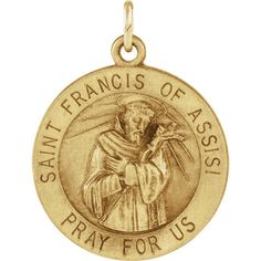 14K Yellow Gold 18mm Round St. Francis of Assisi Medal  #Unbranded