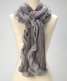 Gray Ruffle Knit Scarf