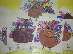 Turkey: Directed Drawing: Doodle Bugs Teaching {first grade rocks! Thanksgiving Art Projects, Fall Art Projects, Classroom Art Projects, School Art Projects, Art Classroom, Thanksgiving Activities, Thanksgiving Turkey, School Ideas, Kindergarten Art Lessons