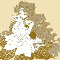 Sailor Moon / Luna human and Artemis Sailor Moon Crystal, Sailor Moon Cat, Sailor Moon Girls, Arte Sailor Moon, Sailor Moon Fan Art, Sailor Moon Character, Sailor Neptune, Sailor Mars, Old Anime