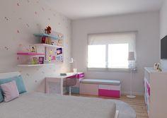 Quarto Pink Lady -  Decoração de quarto juvenil inserido em Projeto de Arquitetura de uma moradia em Palmela com 350m2. A escolha das cores e organização espacial devem-se à necessidade de adaptação ao crescimento de uma menina muito girly. De evidenciar o toucador, produzido pela Carpintaria Laureano, de forma a aproveitar um nicho existente e a generosa oferta de arrumação. #baobart #decor #decoracao #design #arquitetura #atelier #mobiliario #portugal #pecasdecorativas #quartorapariga
