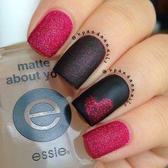 matte heart nails! <3