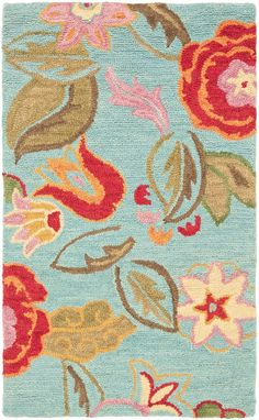 Country And Floral Area Rug Rectangle Blue Multi Color Safavieh Blossom Collection