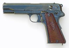 """This is a """"three lever"""" 9mm Polish VIS Radom Model 35 pistol produced under German occupation. Note the red-brown plastic grips."""