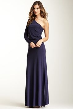Halston Heritage Long Sleeve One Shoulder Gown by Blowout on @HauteLook