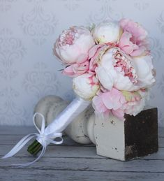 Silk Bride Bouquet Shabby Chic Vintage Inspired Wedding Pink and Cream Peony Flowers. $79.99, via Etsy.