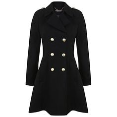 Buy Miss Selfridge Military Coat, Black Online at johnlewis.com