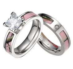elegant camo wedding ring sets for him and her pictures - Pink Camo Wedding Rings For Her