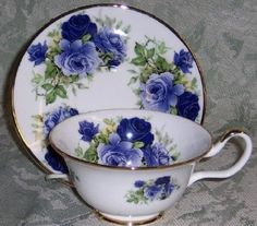 Summertime Blue English Bone China Teacup Staffordshire Sheltonia Tea Cup