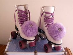 Roller Derby - white and purple skates