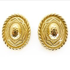 Vintage Large Gold Tone Christian Dior Clip On Earrings | Clarice Jewellery | Vintage Jewellery | Vintage Costume Jewellery