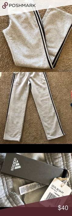 "NEW Adidas Gray Sweat Pants NEW- Adidas Gray Sweat Pants  Side pockets, black stripes down the outside of each leg.  These NEW sweats were a gift that did not fit. Laying flat 38 1/2"" lenght e adidas Pants Sweatpants & Joggers"