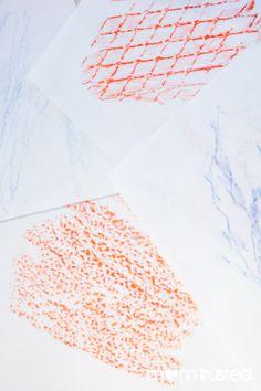 crayon rubbings - great sensory activity