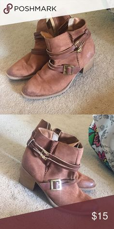 Ankle booties! These booties are light brown and zip on the side. They have about a 3inch heel and are perfect for the fall and country concerts. Qupid Shoes Ankle Boots & Booties