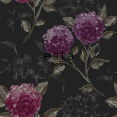 128025 papier peint intissé impression à la craie hortensias noir et aubergine
