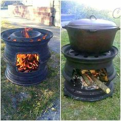 Recycled tire rims into an outdoor stove. Seems like a pretty easy diy. Outdoor Stove, Outdoor Fire, Outdoor Living, Outdoor Decor, Outdoor Ideas, Rim Fire Pit, Fire Pits, Plancha Grill, Tyres Recycle