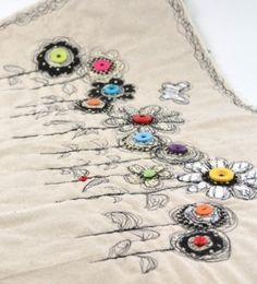 Freehand Machine Embroidery - flowers with buttons :-)