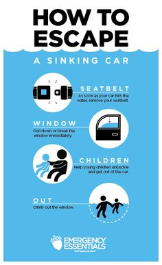 How to Escape a Sinking Car: Seatbelt, Window, Children, Out #survival #survivalskills