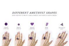 chunky amethyst rings in your choice of shape -via ETSY