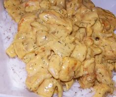 Rijst met kipfilet in mosterdroomsaus