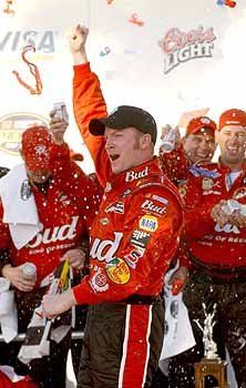 2004 - Dale Earnhardt, Jr.  celebrates in Victory Lane after winning the 2004 Daytona 500.
