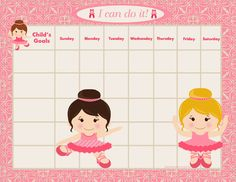 PRINTABLE Personalized Child Behavior Incentive Chart - Four Versions - She's a Ballerina - Printable Jpeg or PDF. $5.99, via Etsy.