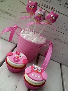 Owl Themed Cake pops and Cupcakes by CreativeCakepops