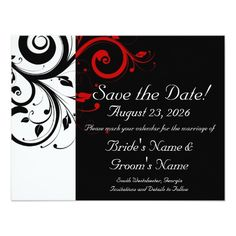 Black, White, Red Swirl Wedding Save the Date Personalized Invitations