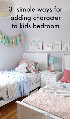 Small but light and airy, this all in pastel shared girls bedroom is super…