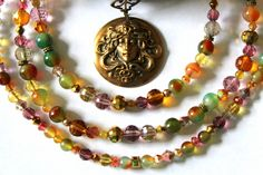 Fairy Queen Pendant with Rainbow Agate Gemstones and Chinese Multi-Faceted Crystals - Also various sizes of other crystals add to create this enchanting necklace