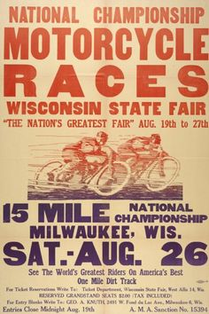Poster advertising the National Championship Motorcycle Races at the 1950 Wisconsin State Fair. Image ID: 33384